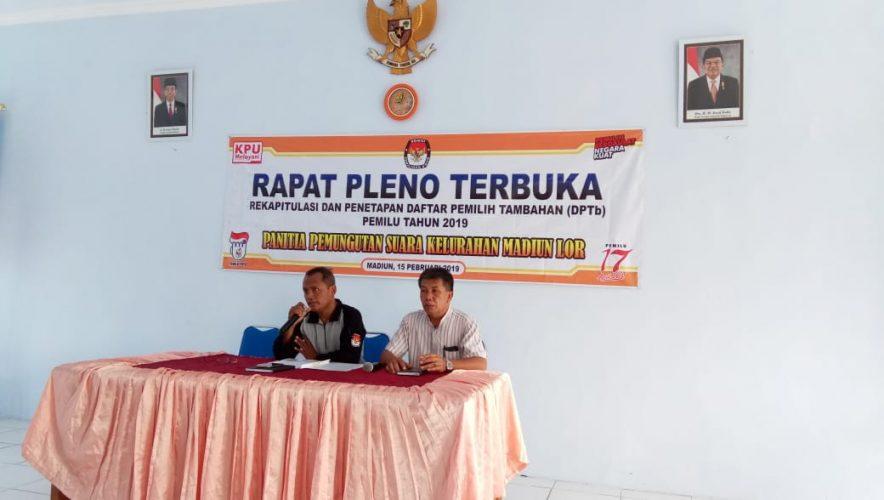 RAPAT PLENO TERBUKA PANITIA PEMUNGUTAN SUARA KELURAHAN MADIUN LOR TAHUN 2019